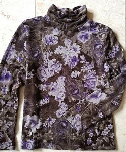 Turtleneck top brown purple sz s